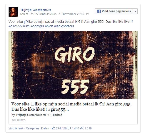 Social media blunder Trijntje Oosterhuis