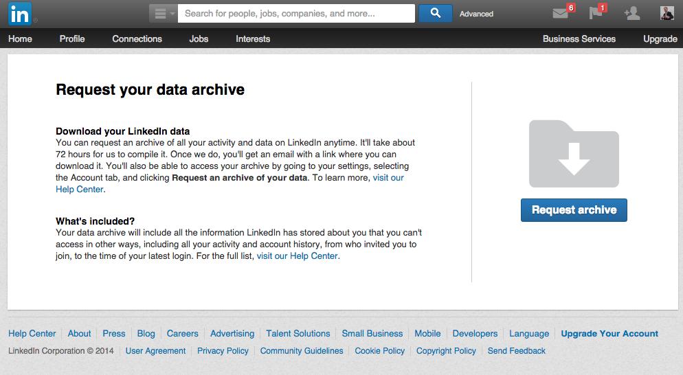 Je LinkedIn archief aanvragen