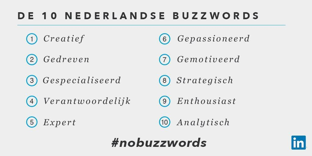 Top 10 LinkedIn modewoorden in Nederland