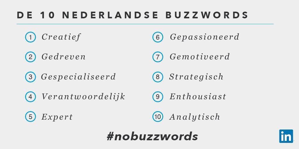 Top 10 LinkedIn modewoorden in Nederland