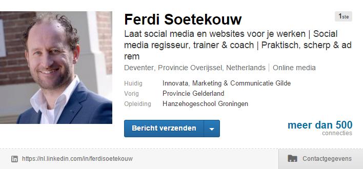 LinkedIn profiel Ferdi Soetekouw